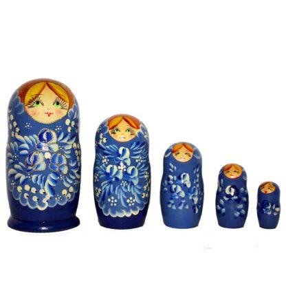 Матрешка синяя 5 куколок